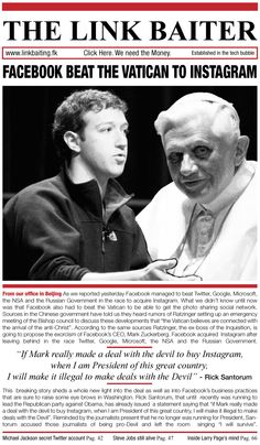 #Breaking: #Facebook beat the #Vatican to @Instagram; Mark Zuckerberg to be exorcised.