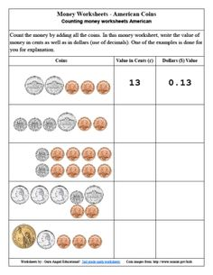 Free to print money worksheets for kids in 2nd grade