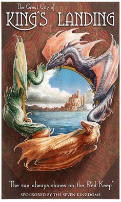Kings Landing poster by LyntonLevengood on DeviantArt Travel Ads, Travel Posters, Fantasy Words, King's Landing, Sword And Sorcery, Dragon Art, Character Description, Vintage Travel, Cover Art