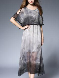 Women Plus Size Gray Chiffon Animal Printed Cold Shoulder A-line Midi Dress