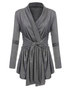 dd3fa987a5c39 Women s Long 3 4 Sleeve Open Front Drape Hem Knot Belted Lightweight  Cardigan Regular S-XXXL - Dark Gray - C61859C3CS9