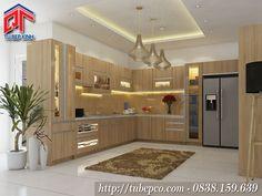 Tủ bếp MFC vân gỗ sáng cho phòng bếp hiện đại, ấm cúng TBX127