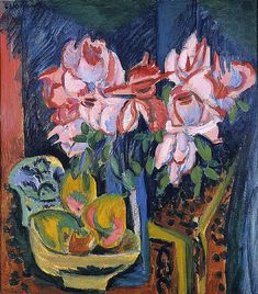 Ernst Ludwig Kirchner - Pink Roses - Ernst Ludwig Kirchner - Wikimedia Commons