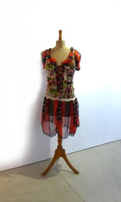 Vintage 1990s Paris designer Jean Paul Gaultier silk chiffon and knit peasant dress sz M - pinned by pin4etsy.com