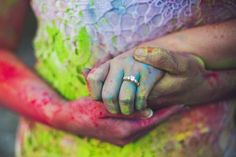 Fun and unique wedding and engagement ring photo idea! This couple had a blast with holi powder. See more in the article link - by Calgary wedding photographer Anna Michalska Mountain Engagement Photos, Engagement Ring Photos, Engagement Ideas, Wedding Goals, Dream Wedding, Holi Pictures, Holi Photo, Holi Powder, Holi Colors