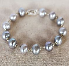 South Sea Pearl Bracelet  Natural Pearls Sterling Silver by karioi, $210.00 http://etsy.com/shop/karioi