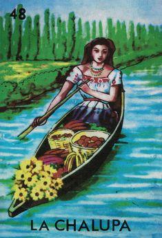 Loteria La Chalupa mexicana ilustración Retro Art por WeLoveCMYK
