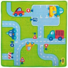Traffic Area Rug. This is adorable and perfect for a child's room! Not only to cover the flooring but to play on as well. #oompatoys #haba  Get the toy cars out and let's go for a ride!  ALL kids love cars and this rug makes it complete with all the cute little roads
