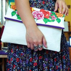 tutorial  DIY simple floral envelope clutch Instead of floral use lace a1272057b7cad