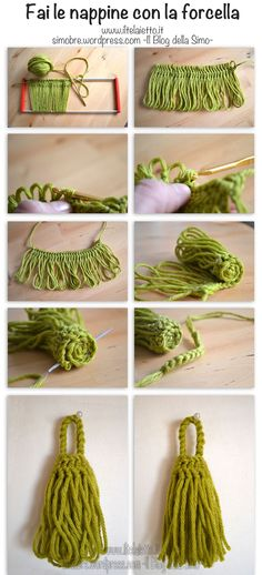 Püskül Tutorial - tassel with hairpin lace Hairpin Lace Patterns, Hairpin Lace Crochet, Crochet Stitches, Knit Crochet, Crochet Patterns, Crochet Edgings, Freeform Crochet, Crochet Tops, Cross Stitches