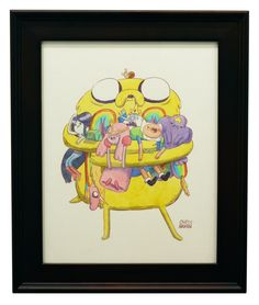 MONDO IS SELLING FANCY PANTS ADVENTURE TIME ART: Jake holding Marceline, BMO, Lady Rainicorn, Princess Bubblegum, Ice King, Finn, LSP, and the snail by Chris Houghton