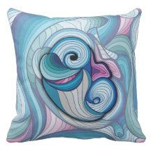 Abstract dolphin throw pillow
