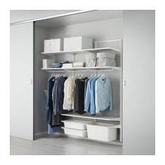 Renew your home with ELVARLI 2 section shelving unit, white. ELVARLI storage system adapts to your space. The open solution with durable bamboo shelves creates an attractive display of your belongings. Ikea Algot, Elvarli Ikea, Clothes Storage Solutions, Storage Hacks, Basement Furniture, Bedroom Furniture, Basement Flooring, White Furniture, Organisation Ikea