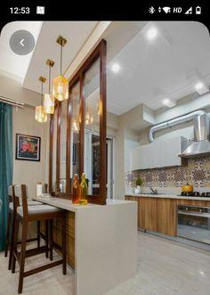 Wooden Partition Design, Glass Partition Designs, Wooden Partitions, Living Room Partition Design, Partition Ideas, Kitchen Design Open, Interior Design Kitchen, Kitchen Decor, Kitchen Designs