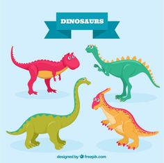Nice colored dinosaurs Free Vector