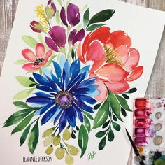 Likes, 23 Comments - Jeannie Dickson Watercolor Cards, Watercolor Flowers, Watercolor Paintings, Floral Illustrations, Diy Art, Painting & Drawing, Flower Art, Art Projects, Artwork