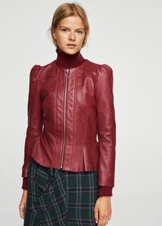 Puffed leather jacket