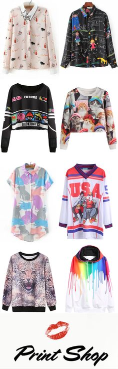 Print Shop - Multicolor blouses, dresses and sweatshirts from romwe.com