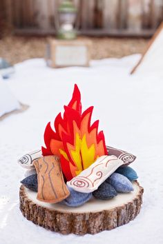 """Felt fire from """"Glamping"""" Glamorous Camping Birthday Party at Kara's Party Ideas!"""