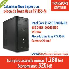 Calculator Nou Expert cu placa de baza Asus P7H55-M, procesor Intel Core i5 650 3200 MHz, 4 GB DDR3, HDD 500 GB, DVD-RW la numai 1.280 lei!