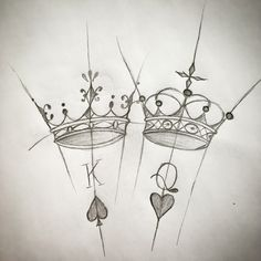 16 best ideas of king and queen tattoos - Typografia - Melhores Tatuagens Paar Tattoos, Kunst Tattoos, Body Art Tattoos, Small Tattoos, Tatoos, Pencil Art Drawings, Art Drawings Sketches, Tattoo Sketches, Tattoo Drawings