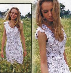 Нарядное платье из цветочных мотивов. Описание, схемы