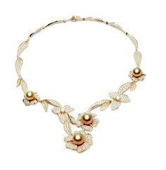 Jewelmer diamond, gold, and golden pearl necklace