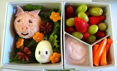 Pig bento in the Fuel Bento box, www.bentoland.com.au Bento Food, Bento Box Lunch, Bento Recipes, Healthy Recipes, Breakfast, Morning Coffee, Healthy Eating Recipes, Healthy Food Recipes, Clean Eating Recipes