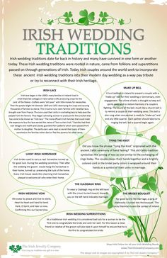 Wedding irish wedding traditions info graphic - Irish wedding traditions date far back in history and many have survived in one form or another today. These Irish wedding traditions were rooted in nature came from folklore and superstitions for … Celtic Wedding, Our Wedding, Pagan Wedding, Irish Wedding Rings, Trendy Wedding, Wedding Shot, Irish Wedding Toast, Irish Engagement Rings, Irish Wedding Dresses