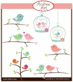 Clip art valentine love birds on branches instant por audreeart
