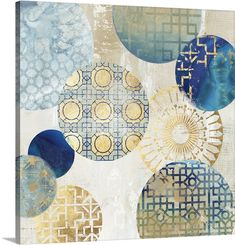 "Gold and blue circles all with different patterns against a neutral background - ""Gold Rings II"" wall art by Aimee Wilson from Great BIG Canvas"