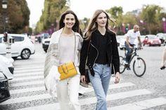 Paris Fashionweek ss2015 day 5, outside Chloé, models