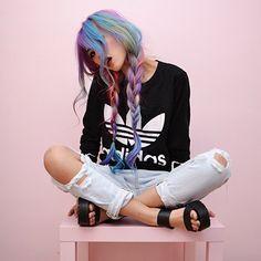 Now trending…Rainbow hair Pastel hair cut up jeans Dye My Hair, Pelo Multicolor, Coiffure Hair, Cooler Look, Unicorn Hair, Rainbow Hair, Rainbow Braids, Crazy Hair, Pretty Hairstyles
