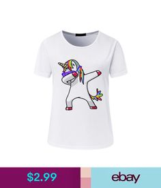 8c27ca0a28fa Colorful Dabbing Unicorn Print Tee Women Short Sleeve Tops Cartoon Tshirt  Tee Us  ebay