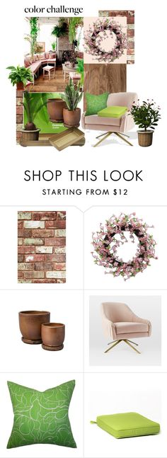"""Color Challenge: Green and Blush"" by beleev ❤ liked on Polyvore featuring interior, interiors, interior design, home, home decor, interior decorating, Graham & Brown, Benjamin Moore, Jayson Home and Therapy"