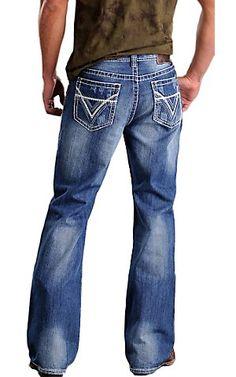 Rock & Roll Cowboy® Medium Stonewash Double V Barrel Relaxed Fit Boot Cut Jeans | Cavender's