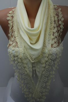 Creamy Shawl Scarf Spring Scarf Ivory Lace Scarf Oat by DIDUCI