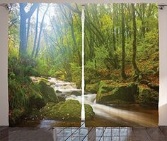 Woodland Decor Curtains By Ambesonne, Forest Scene At Golitha Falls Nature Reserve On The River Fowey, Cornwall, England, Living Room Bedroom Decor, 2 Panel Set, 108 W X 84 L Inches