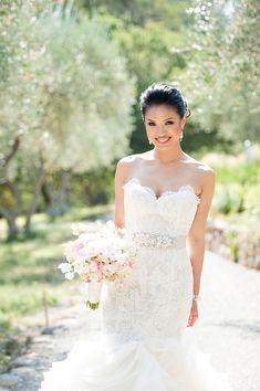 #Lazaro Wedding Gown | See this romantic wedding on SMP:  http://www.StyleMePretty.com/california-weddings/rutherford/2014/01/24/glam-auberge-du-soleil-destination-wedding/ Photography: Vero Suh