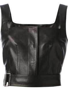 Alexander Mcqueen Cropped Leather Tank - Luisa World - Farfetch.com