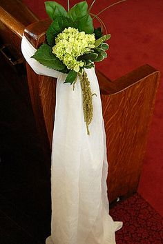 Green hydrangeas accented with hanging amaranthus. Flowers by Celebrations. Church Wedding Decorations Aisle, Pew Decorations, Wedding Pews, Aqua Wedding, July Wedding, Chapel Wedding, Wedding Events, Wedding Flowers, Dream Wedding