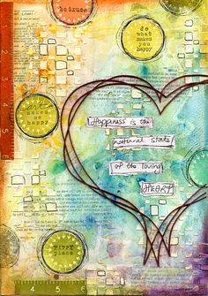 Loving Heart art journal page featuring Scrap FX chipboard Scribble Heart Large, Hash stencil, and school spot stamps. www.scrapfx.com.au