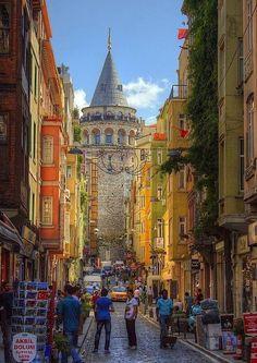 Towards the Galata Tower, Istanbul, Turkey by Ali Oktay