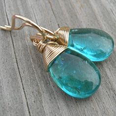 Neon Blue Apatite Gold Fill Earrings by westbyron on Etsy, $36.00