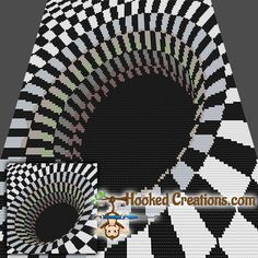 Optical Black Hole Mini C2C Throw Blanket Crochet Pattern _PDF Download