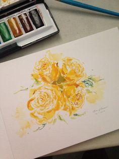 Watercolor - yellow roses
