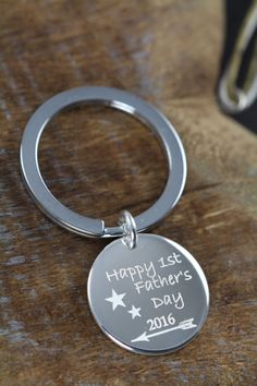 First Fathers Day Gift , Custom Engraved and Personalize Key Ring for Dad by Shiny Little Blessings.