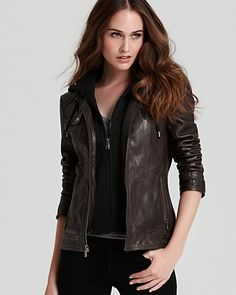 Marc New York Distressed Leather Jacket - in Anthracite 569 retail ;[