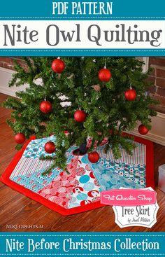 Hexagon Tree Skirt Downloadable PDF Pattern Nite Owl Quilting - Fat Quarter Shop