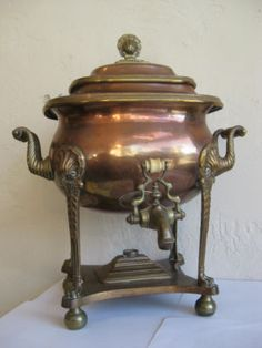 Antique Russian Copper Bronze Coffee Urn Tea Samovar Server Pot Burner